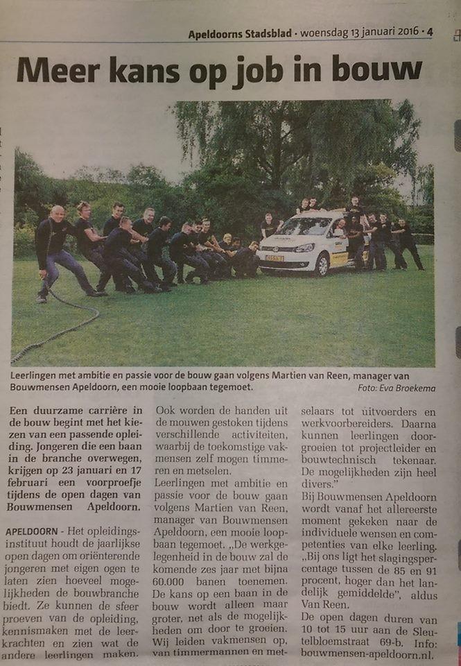Publicatie Apeldoorns Stadsblad Bouw in de lift