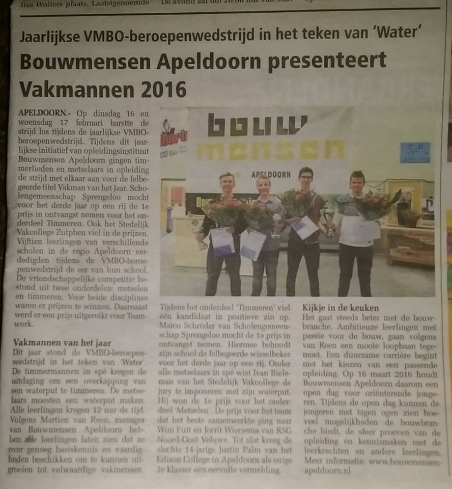 Persbericht - Bouwmensen Apeldoorn presenteert Vakmannen 2016