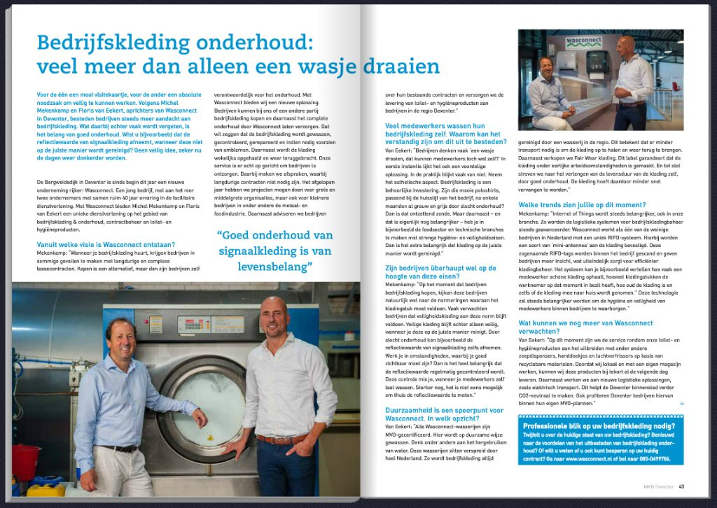 Wasconnect in MKB Deventer Magazine